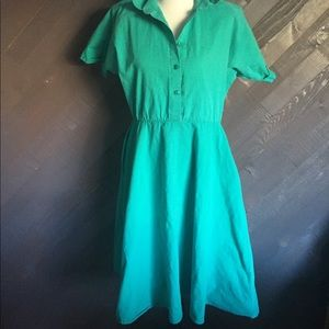 Vintage Aqua A Line Midi Dress 👗 👗 👗